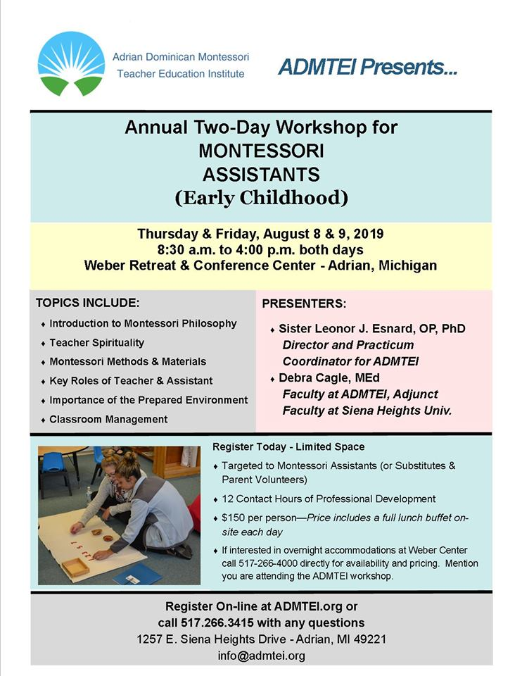 Two-Day Assistants Workshop August 8 & 9, 2019 – ADMTEI